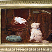 Dog and Cats 19th Century French Oil on Panel Interior Scene