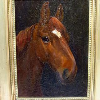 Antique Horse Portrait Oil Painting