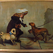 Large Antique Oil Painting Young Girl Pug Dog Blind Man