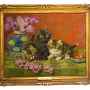 Three Kittens French Oil Painting by Daniel Merlin
