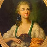 Woman Holding Spaniel Antique Print