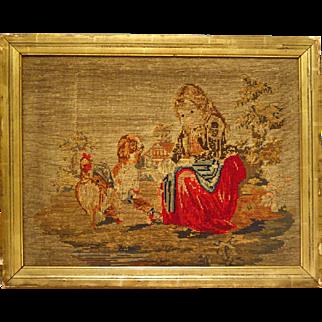 Antique Needlepoint Pastoral Scene Girl Feeding Chickens
