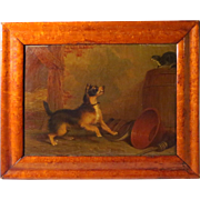 Terrier Chasing Cat Martin Theodore Ward Oil on Canvas