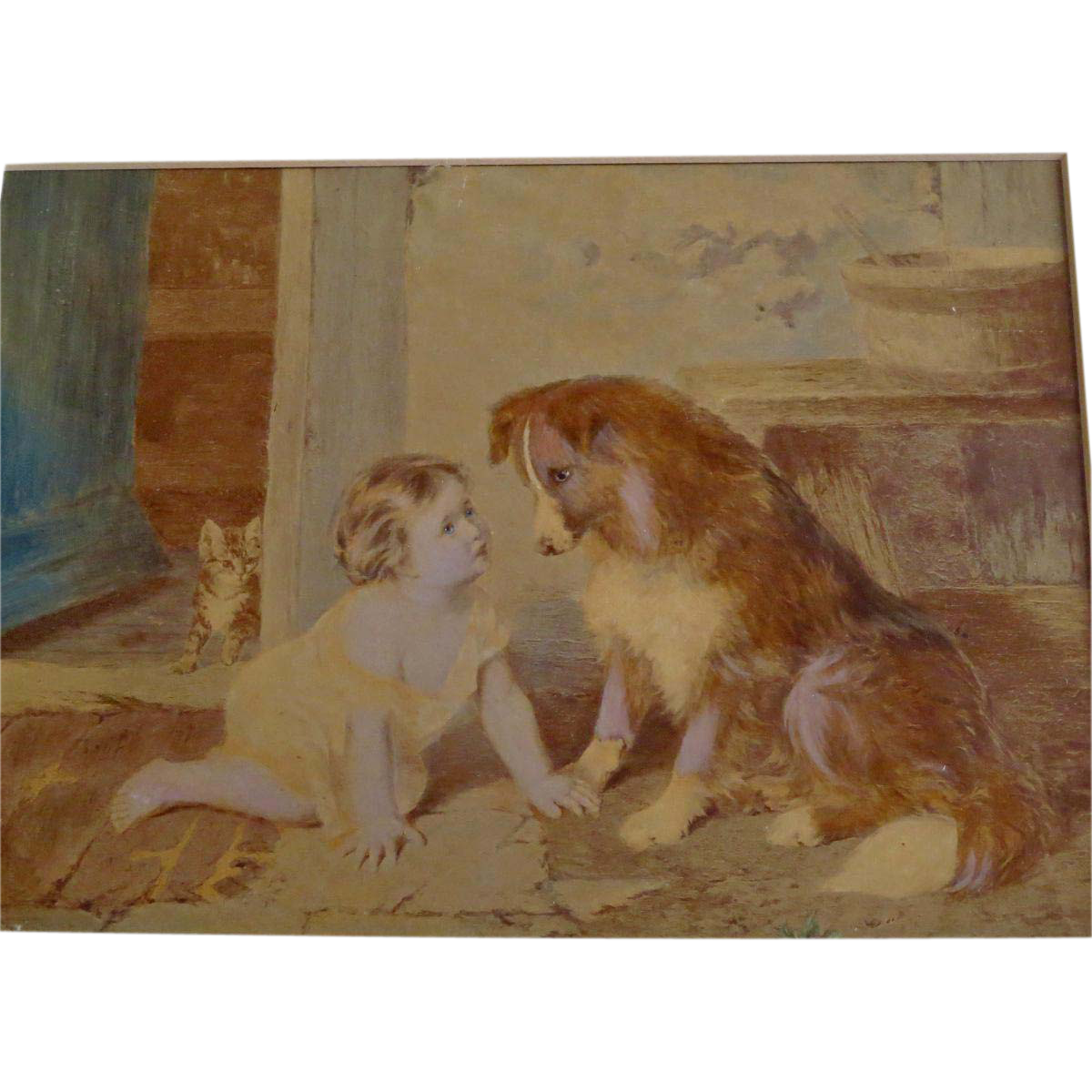 """Vintage Print Baby and Dog Titled """"Can't You Talk"""""""