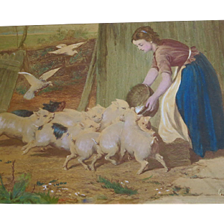 """Vintage Print Young Woman Feeding Pigs Titled """"A Noisy Family"""""""