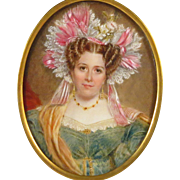 19th century Portrait Miniature Beautiful Young Woman in Exqusite Attire