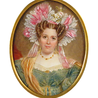 19th century Portrait Miniature Beautiful Young Woman in Exqusite Attire