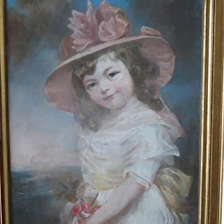 19th Century Pastel Portrait Young Girl Picking Cherries