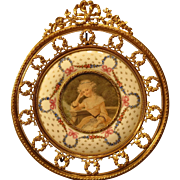 Antique Portrait Miniature in Fabulous Bronze Porcelain Frame
