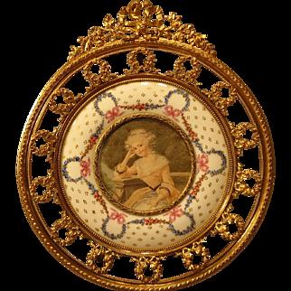 Antique Portrait Miniature in Fabulous Bronze Porcelain Frame