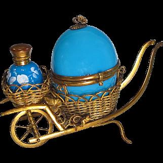 Antique French Blue Opaline  Perfume Egg Casket in Wheelbarrow
