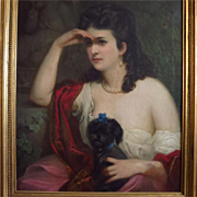 19 Century Oil Portrait Beautiful Woman Holding Her Dog