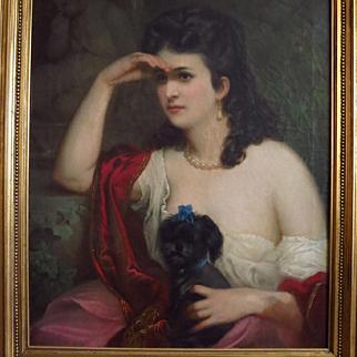 19 Century Oil Portrait Beautiful Woman Holding Her Dog