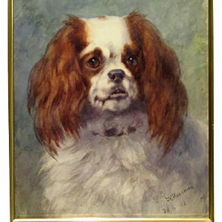 Cavalier King Charles Spaniel Watercolor Portrait Frances C. Fairman