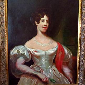Early 1800's Oil Portrait Beautiful Woman in White Wedding Dress