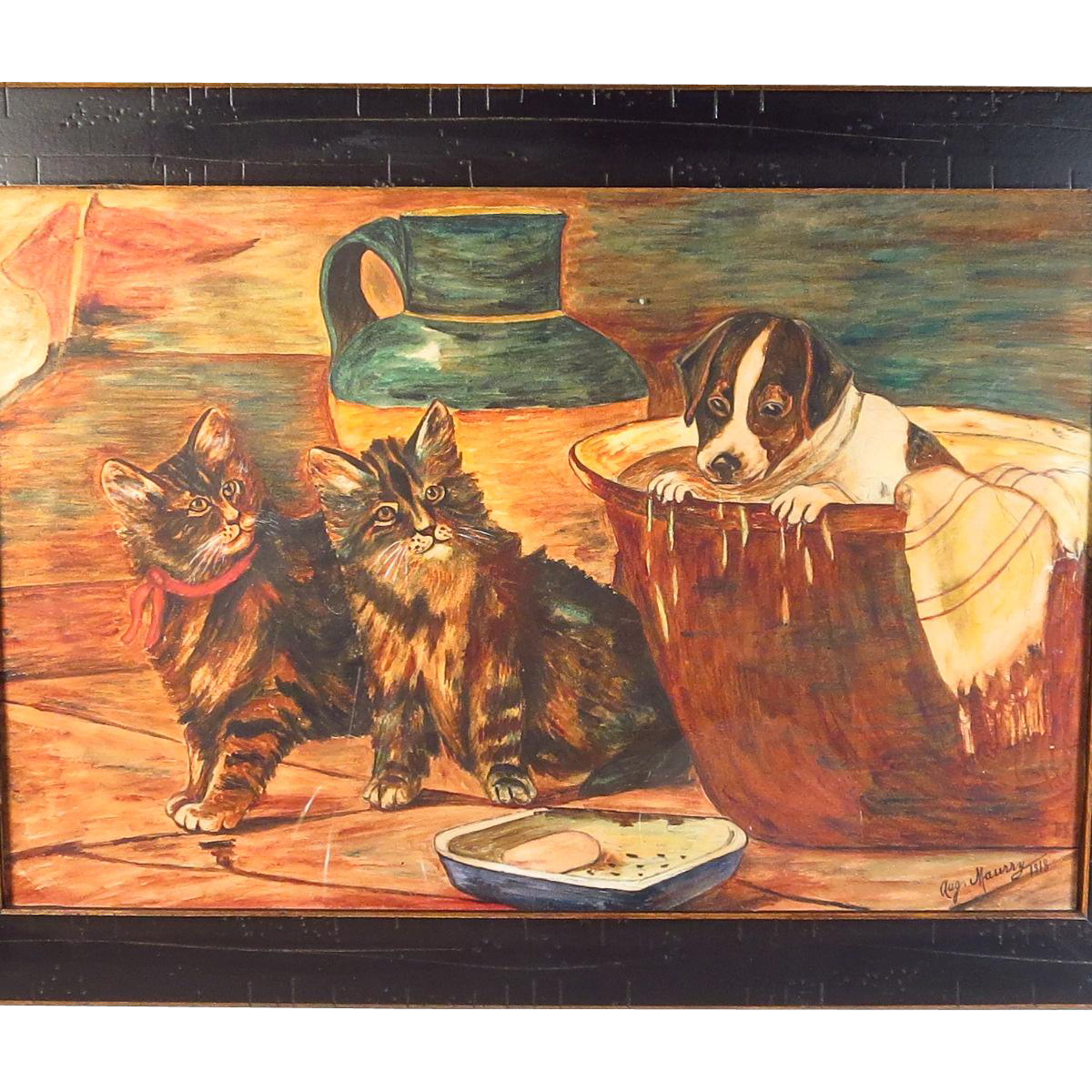 Folk Art Watercolor Painting Puppy Kittens Signed