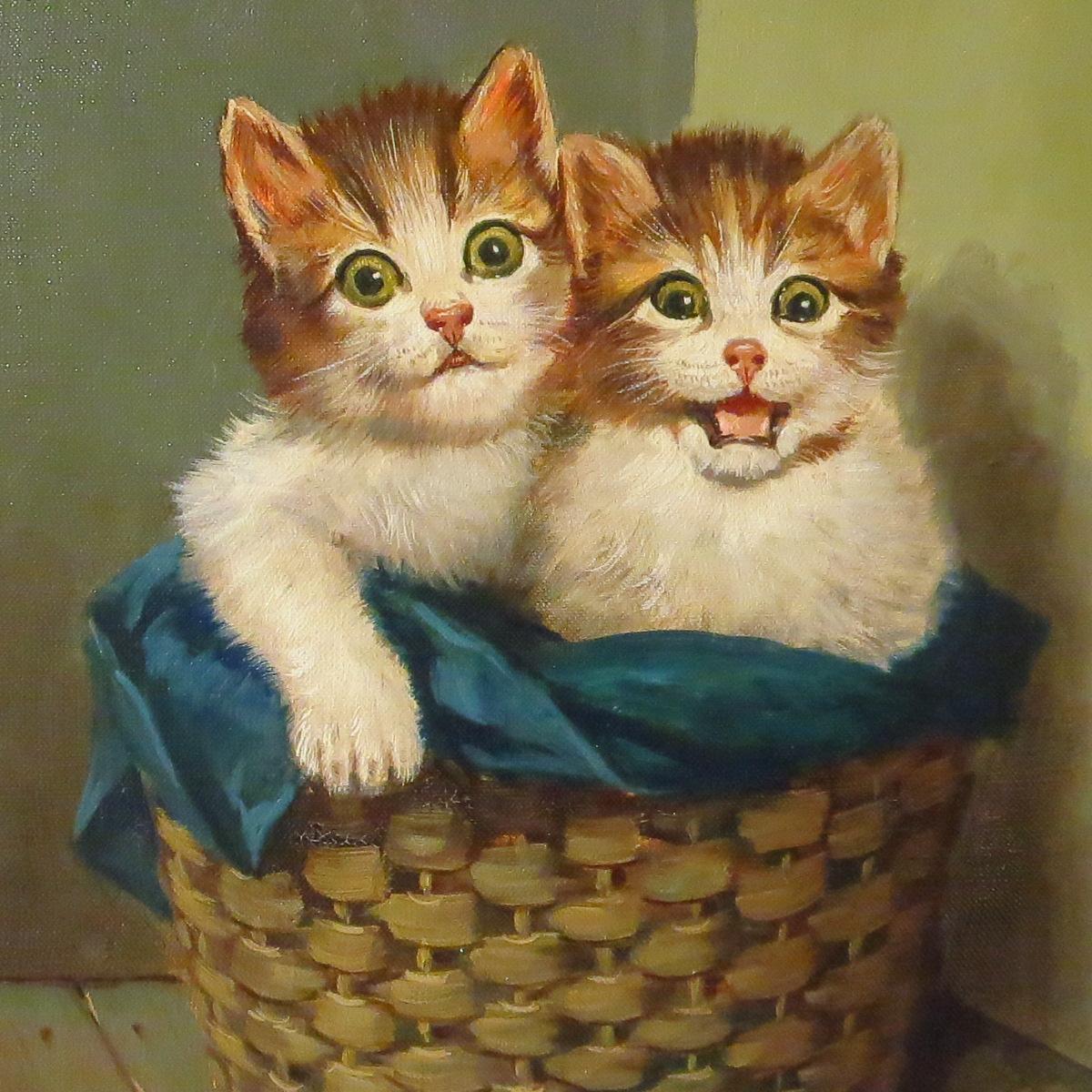 Two Kittens in Basket Oil Painting Hans Fenger