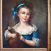 Oil Portrait Young Girl Holding Doll Regency Period
