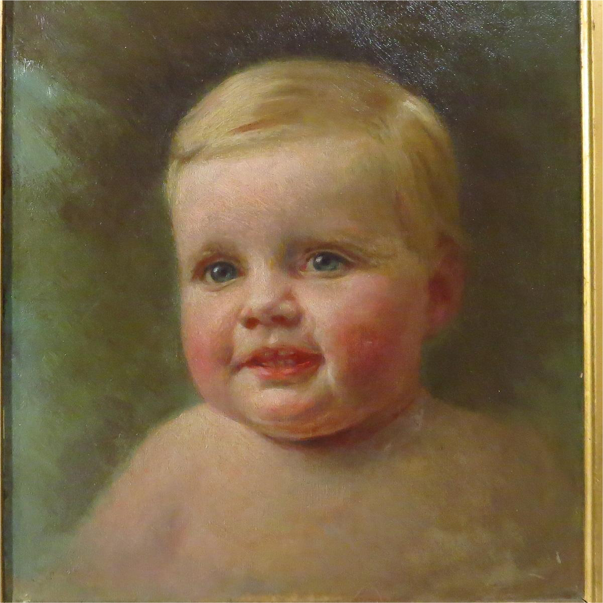 Beautiful Baby Boy Oil Painting Signed Isaacs