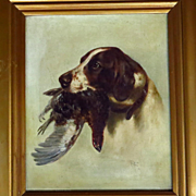 19th Century English Spaniel Retriever Dog & Pheasant Portrait Oil Painting