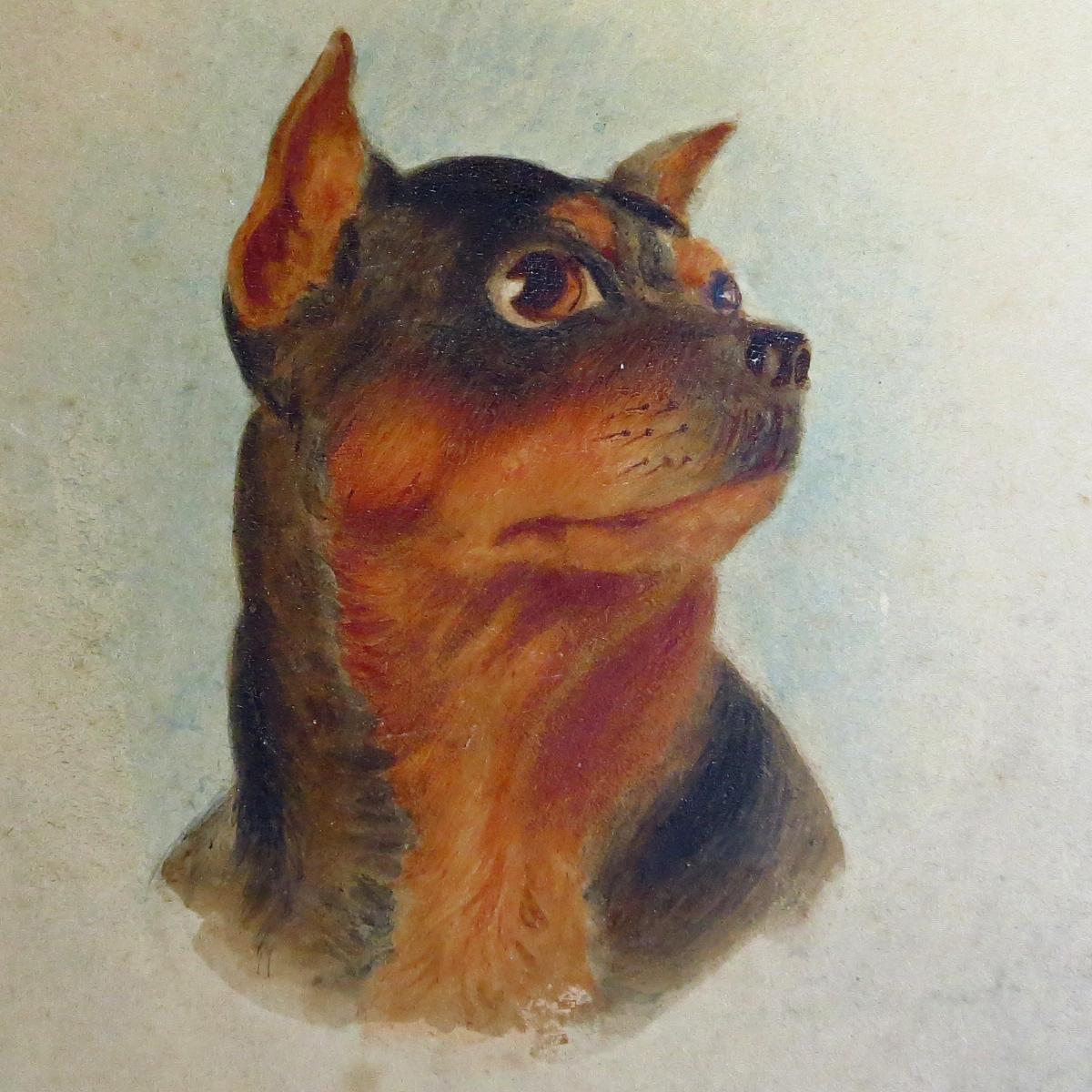 Antique Portrait Painting Terrier British School