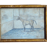 Miniature Antique Drawing of Horse in Stall