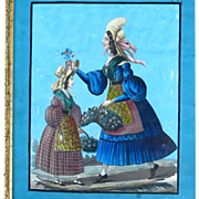 Antique Georgian Folk Art Painting Two Women Gathering Flowers