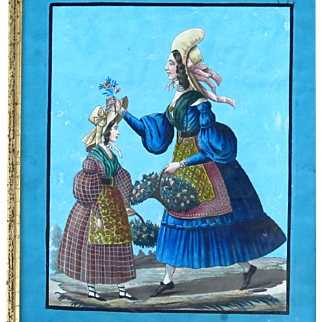 Antique Georgian Folk Art Painting Two Women Gathering Flowers