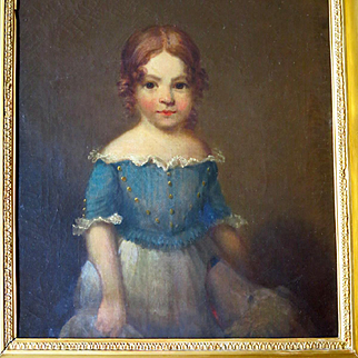 Young Girl with Dog Oil Portrait American