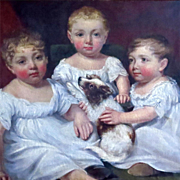 Three Young Children with Puppy Oil Portrait by James Ramsey Dated 1806