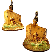 Vintage Cast Iron Bookends Dog and Cat on Fence