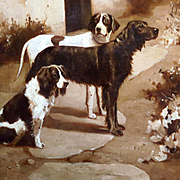 Alfred Duke Oil Portrait Three Dogs Waiting Setter Pointer Spaniel