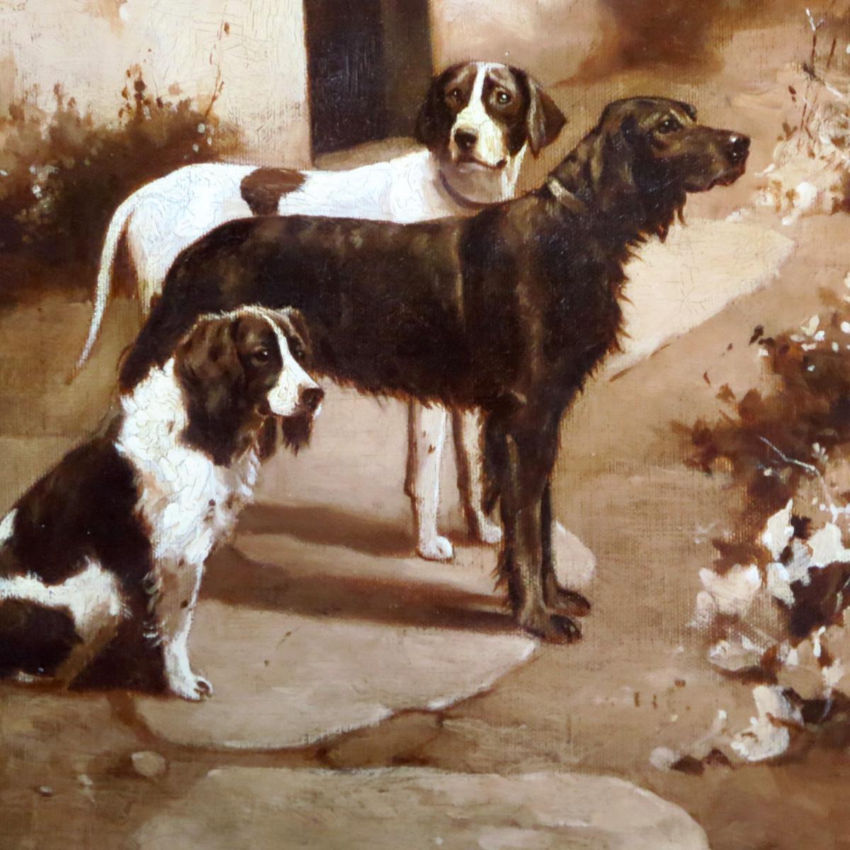 Alfred Duke Oil Portrait Three Dogs Waiting Setter Pointer Spaniel