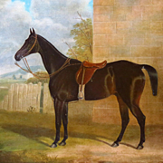 Antique English Horse Portrait Equestrian Painting