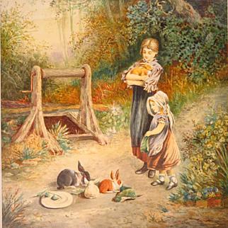 Myles Birket Foster Watercolor Feeding the Rabbits