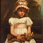 Young Girl with Yarn Doll Oil Painting Signed