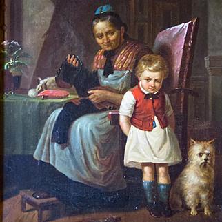 19th Century German Oil Painting Genre Scene Grandma Scolding Grandson
