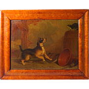 Cat Spitting at Terrier Martin Theodore Ward 19th Century Oil on Canvas
