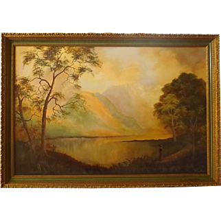 Large Landscape Oil on Canvas Painting Signed Mosher