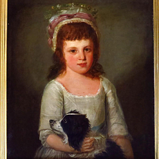 Young Girl with Spaniel 19th Century Oil Portrait