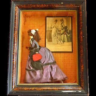 Antique Handmade Doll in Shadowbox Frame French Fashion Piece