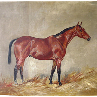 Antique English School Bay Hunter Horse in Stable Oil Painting
