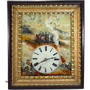 German Black Forest Picture Frame Wall Clock Reverse Painted Dial Military Scene 19th Century