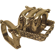 Seagull Canada Pewter Pig Napkin Rings Set of 4