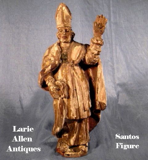 Carved Religious Statue Bishop Polychrome