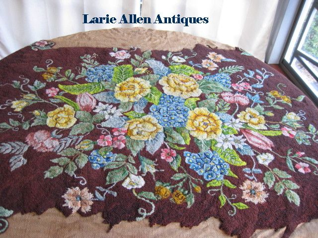 Glorious Floral Hand Hooked Rug Unfinished