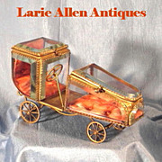 Rare French Double Watch Holder/Casket Figural Car