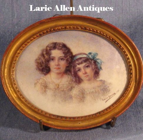 Young Sisters Double Portrait Miniature Signed
