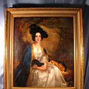 Large 19th c. continental oil of beautiful aristocratic lady with spaniel