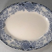 "Large 19"" Flow Blue Art Nouveau Platter Floral Design"